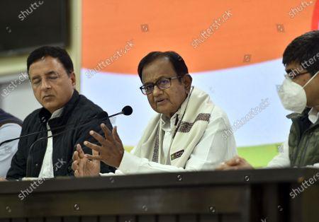 Editorial picture of Congress Leader P Chidambaram Addresses Press Conference On Union Budget 2021, New Delhi, Delhi, India - 01 Feb 2021