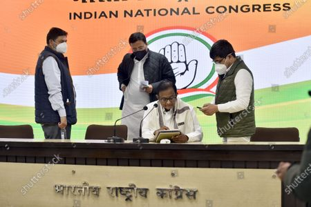 Congress leaders P. Chidambaram (C) Randeep S. Surjewala (C, back) and others at a press conference on Budget 2021-22 at AICC Headquarters, on February 1, 2021 in New Delhi, India.