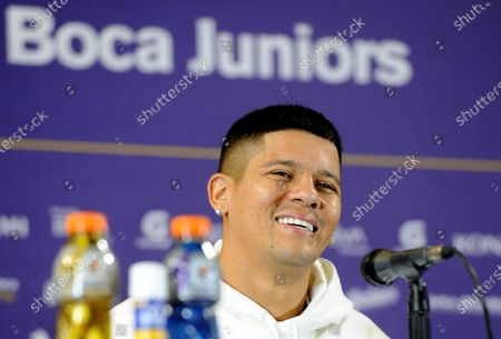 Stock Photo of Marcos Rojo smiles during the press conference in which he was introduced as a new Boca Juniors player, in Buenos Aires, Argentina, 02 February 2021. Rojo arrived in a free condition after leaving Manchester United, and signed for two years with the traditional Buenos Aires club.
