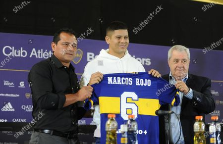 The president of Boca Juniors, Jorge Amor Ameal (R), and the member of the club's soccer Council, former soccer player Marcelo 'Chelo' Delgado (L), present Marcos Rojo as a new Boca Juniors player, during a press conference in Buenos Aires, Argentina, 02 February 2021. Rojo arrived in a free condition after leaving Manchester United, and signed for two years with the traditional Buenos Aires club.