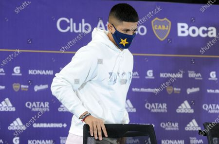 Stock Image of Marcos Rojo arrives to the press conference in which he was introduced as a new Boca Juniors player, in Buenos Aires, Argentina, 02 February 2021. Rojo arrived in a free condition after leaving Manchester United, and signed for two years with the traditional Buenos Aires club.