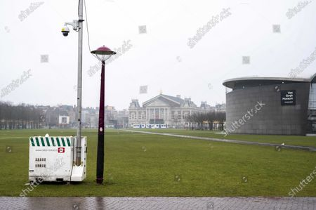 A view of cameras on and around the Museumplein in Amsterdam, The Netherlands, 02 February 2021. Mayor Femke Halsema has decided to do so, because of three unauthorized demonstrations in which more than 300 people were arrested and for which police had to be deployed on a large scale.