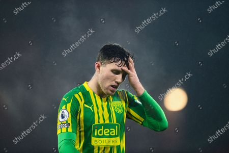 West Bromwich Albion's Dara O'Shea reacts during the English Premier League soccer match between Sheffield United and West Bromwich Albion at Bramall Lane stadium in Sheffield, England