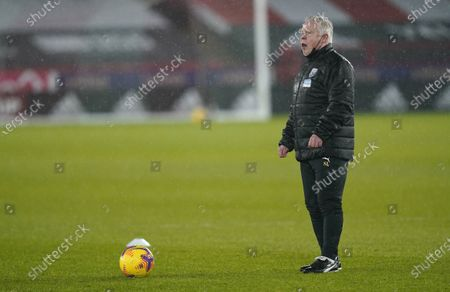 Sammy Lee, assistant coach of West Bromwich, reacts before the English Premier League soccer match between Sheffield United and West Bromwich Albion in Sheffield, Britain, 02 February 2021.