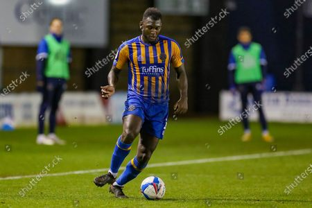 Stock Picture of Shrewsbury Town defender Aaron Pierre (2) with the ball during the EFL Sky Bet League 1 match between Shrewsbury Town and Crewe Alexandra at Montgomery Waters Meadow, Shrewsbury