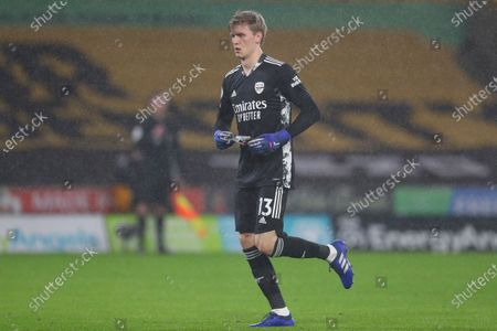 Stock Picture of Arsenal's goalkeeper Runar Alex Runarsson walks in after he replaced Arsenal's goalkeeper Bernd Leno during the English Premier League match between Wolverhampton Wanderers and Arsenal at the Molineux Stadium in Wolverhampton, England