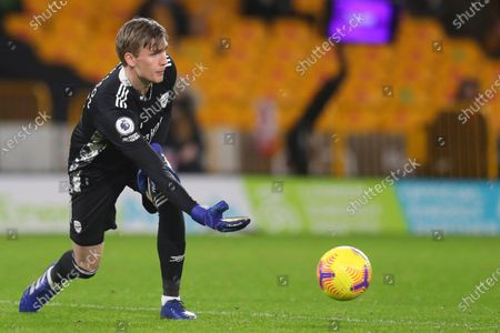 Arsenal's goalkeeper Runar Alex Runarsson passes the ball during the English Premier League match between Wolverhampton Wanderers and Arsenal at the Molineux Stadium in Wolverhampton, England