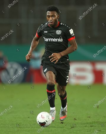 Timothy Fosu-Mensah of Bayer Leverkusen runs with the ball during the German DFB Cup Round of Sixteen soccer match between Rot-Weiss Essen and Bayer Leverkusen at Stadion Essen in Essen, Germany, 02 February 2021.