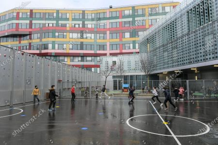 Children playing in the courtyard of Claude Bernard school in Paris during the visit of Jean-Michel Blanquer, Minister of National Education, Youth and Sports, on February 2, 2021, on the occasion of the 5th edition of Olympic and Paralympic Week, from February 1 to 6, 2021, dedicated to the 30 minutes of daily physical activity operation at the School, in the presence of Tony Estanguet, President of Paris 2024.