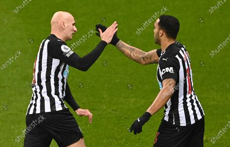 Newcastle United's Jonjo Shelvey (L) and Newcastle United's Calum Wilson (R) celebrate the 1-0 goal during the English Premier League soccer match between Newcastle United and Crystal Palace in Newcastle, Britain, 02 February 2021.