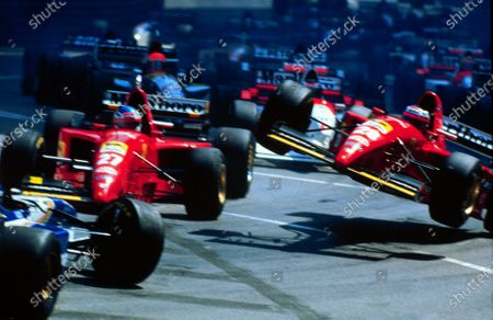 1995 MONACO GP.The Ferrari's of Gerhard Berger and Jean Alesi collide with the Williams of David Coulthard at the first start of the race.Photo: LAT