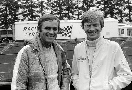 Stock Image of (L to R): Jochen Neerpasch (GER) Founder BMW M (Motorsport) department with Max Mosley (GBR) March Team Manager. German Grand Prix, Rd 8, Nurburgring, Germany, 1 August 1972.