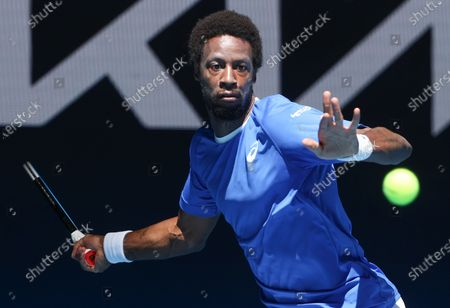 France's Gael Monfils makes a forehand return to Italy's Matteo Berrettini during their ATP Cup match in Melbourne, Australia