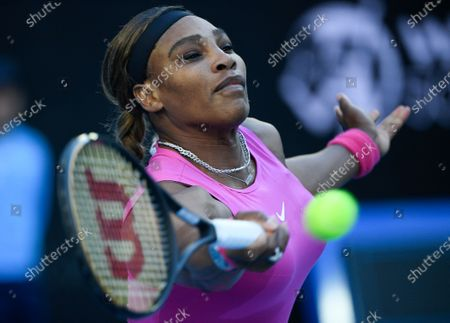 United States' Serena Williams makes a forehand return to Bulgaria's Tsvetana Pironkova during a tuneup event ahead of the Australian Open tennis championships in Melbourne, Australia