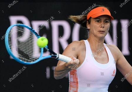 Bulgaria's Tsvetana Pironkova makes a forehand return to United States' Serena Williams during a tuneup event ahead of the Australian Open tennis championships in Melbourne, Australia