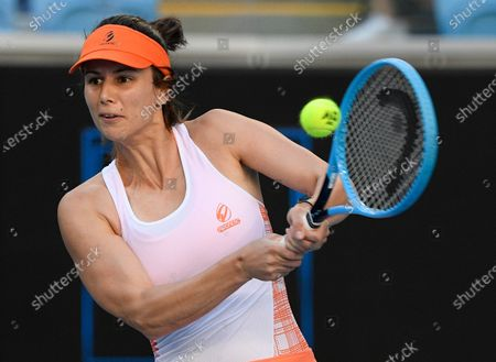 Bulgaria's Tsvetana Pironkova makes a backhand return to United States' Serena Williams during a tuneup event ahead of the Australian Open tennis championships in Melbourne, Australia