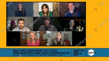 Stock Photo of Emilia Jones, Eugenio Derbez, Troy Kotsur, Ferdia Walsh-Peelo, Daniel Durant, Marlee Matlin