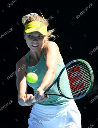 Katie Boulter of Britain in action against Naomi Osaka of Japan during their Gippsland Trophy - WTA 500 tennis tournament match at Melbourne Park in Melbourne, Australia, 03 February 2021.
