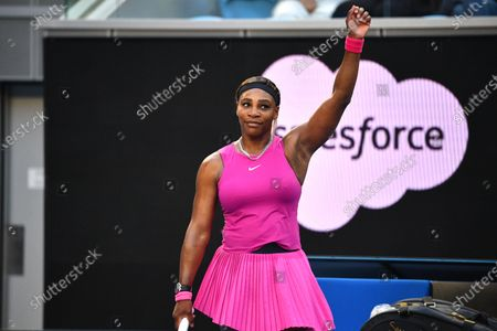 Serena Williams of the USA reacts after defeating Tsvetana Pironkova of Bulgaria in their third round match of the Yarra Valley Classic - WTA 500 tennis tournament at Melbourne Park in Melbourne, Australia, 03 February 2021.