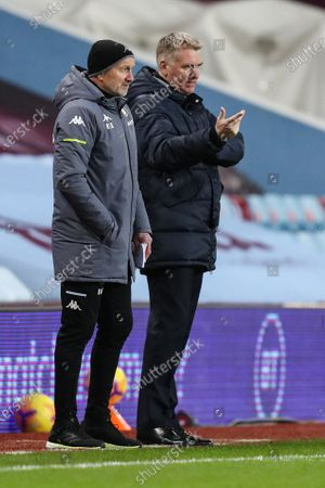 Stock Picture of Dean Smith Aston Villa Manager talks to Richard O'Kelly Aston Villa First Team Coach on the sideline