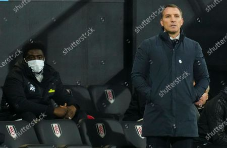 Stock Image of Brendan Rodgers manager of Leicester City looks on in front of First Team Coach Kolo Toure