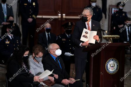 Senate Majority Leader Charles E. Schumer (D-NY) speaks during a ceremony for Capitol Police officer Brian Sicknick in the Rotunda of the US Capitol building in Washington, DC, USA, 03 February 2021. Officer Sicknick was responding to the riot at the U.S. Capitol on 06 January 2021, when he was fatally injured while physically engaging with the mob.