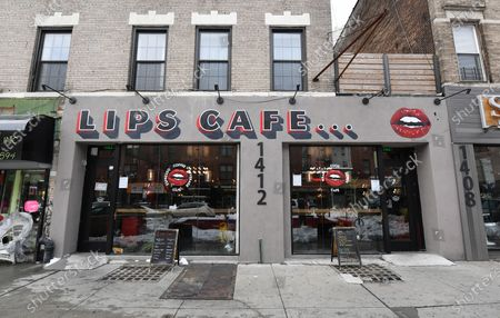 An exterior view of Lips Cafe in the East Flatbush neighborhood of Brooklyn, New York City.