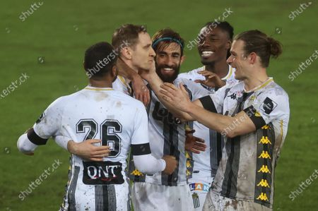 Charleroi's Lukasz Teodorczyk (2,nd L) celebrates after he scored the 1-0 goal with team-mates at a soccer game between Sporting Charleroi (1A first division) and KVC Westerlo (1B second division), Wednesday 03 February 2021 in Charleroi, in the 1/16 finals of the 'Croky Cup' Belgian cup.