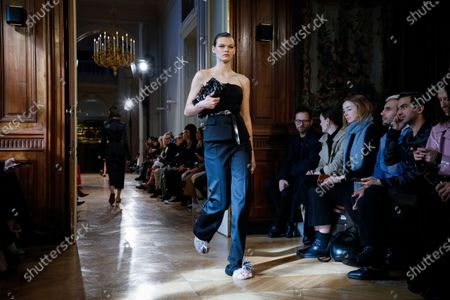 Model on the catwalk at the Altuzarra Fashion show in Paris, Fall Winter 2020, Ready to Wear Fashion Week Collection designed by Joseph Altuzarra