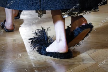 Stock Photo of Model on the catwalk, shoes detail, at the Altuzarra Fashion show in Paris, Fall Winter 2020, Ready to Wear Fashion Week Collection designed by Joseph Altuzarra