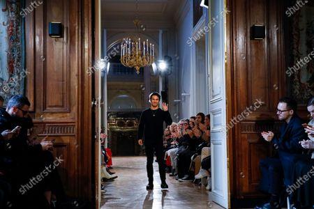 Joseph Altuzarra on the catwalk at the Altuzarra Fashion show in Paris, Fall Winter 2020, Ready to Wear Fashion Week