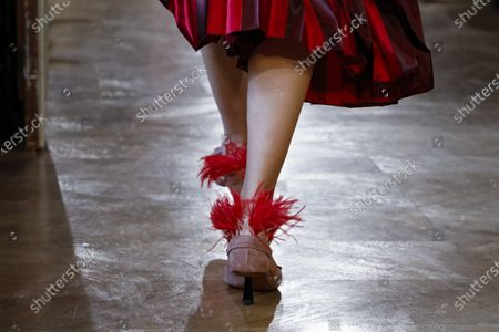 Model on the catwalk, shoes detail, at the Altuzarra Fashion show in Paris, Fall Winter 2020, Ready to Wear Fashion Week Collection designed by Joseph Altuzarra