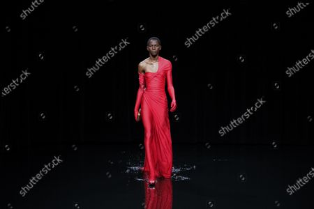 Model on the catwalk at the Balenciaga Fashion show in Paris, Fall Winter 2020, Ready to Wear Fashion WeekCollection designed by Demna Gvasalia