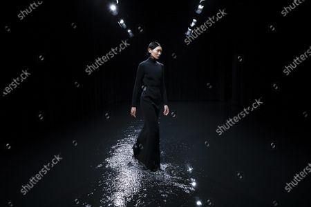 Stock Photo of Model on the catwalk at the Balenciaga Fashion show in Paris, Fall Winter 2020, Ready to Wear Fashion WeekCollection designed by Demna Gvasalia
