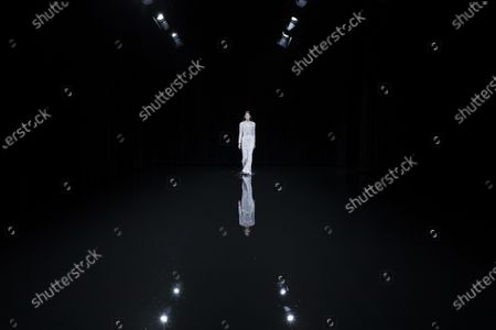 Stock Image of Model on the catwalk at the Balenciaga Fashion show in Paris, Fall Winter 2020, Ready to Wear Fashion WeekCollection designed by Demna Gvasalia