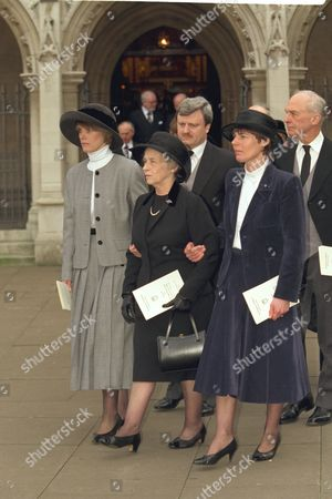 The Funeral Of Enoch Powell At Saint Margaret's Church Westminster..his Widow Pamela Powell And His Daughters Are Pictured Outside The Church.
