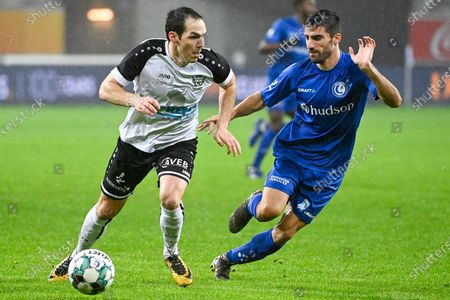 Tongeren's Martijn Dingenen and Gent's Milad Mohammadi fight for the ball during a soccer game between KAA Gent (1A first division) and KFC Heur-Tongeren (2nd amateur division), Wednesday 03 February 2021 in Gent, in the 1/16 finals of the 'Croky Cup' Belgian cup.