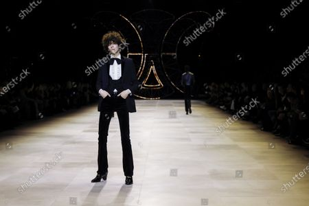 Model on the catwalk at the Celine Fashion show in Paris, Fall Winter 2020, Ready to Wear Fashion WeekCollection designed by Hedi Slimane