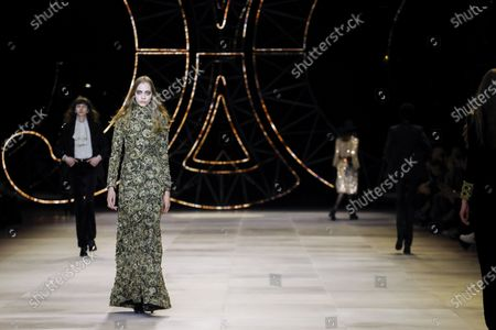 Stock Picture of Model on the catwalk at the Celine Fashion show in Paris, Fall Winter 2020, Ready to Wear Fashion WeekCollection designed by Hedi Slimane