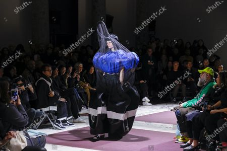 Stock Photo of Model on the catwalk at the Comme des Garçons Fashion show in Paris, Fall Winter 2020, Ready to Wear Fashion WeekCollection designed by Rei Kawakubo