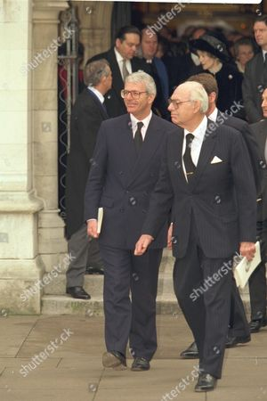 The Funeral Of Enoch Powell At Saint Margaret's Church Westminster..john Major And Denis Thatcher Are Pictured Outside The Church.