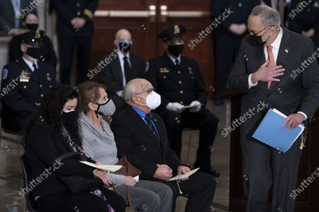 Senate Majority Leader Charles E. Schumer (D-NY) leaves after speaking during a ceremony for Capitol Police officer Brian Sicknick in the Rotunda of the US Capitol building after he died during the January 6th attack on Capitol Hill by a pro-Trump mob February 3, 2021, in Washington, DC.