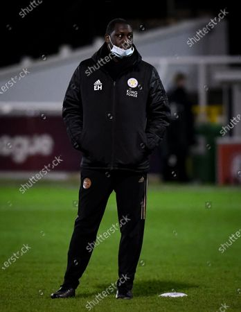 Leicester City Women coach Emile Heskey looks on during warm ups