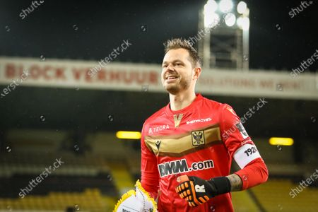 Lokeren's goalkeeper Chris Nunez Andre Espeso pictured during a soccer game between Lokeren-Temse (second amateur division) and K. Sint-Truiden VV (1A first division), Wednesday 03 February 2021 in Lokeren, in the 1/16 finals of the 'Croky Cup' Belgian cup.
