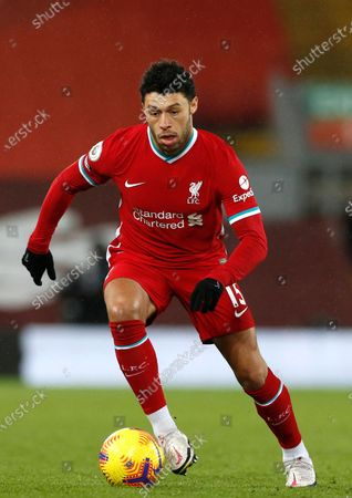 Liverpool's Alex Oxlade-Chamberlain in action during the English Premier League soccer match between Liverpool FC and Brighton Hove Albion in Liverpool, Britain, 03 February 2021.
