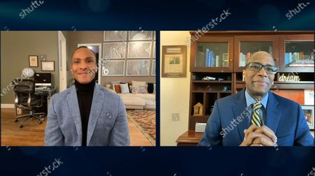 Mike Woods wearing Joseph Abboud at Men's Warehouse and Robery Ginyard from Zero Prostate Cancer wearing Tommy Hilfiger.