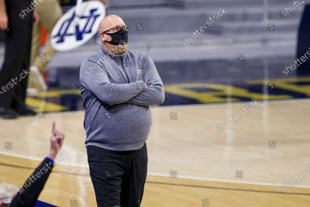 Wake Forest head coach Steve Forbes looks on during an NCAA college basketball game against Notre Dame, in South Bend, Ind. Notre Dame won 79-58