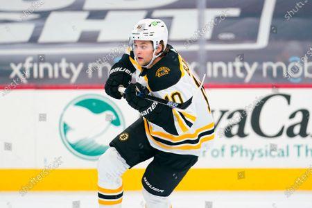 Boston Bruins' Anders Bjork plays during an NHL hockey game against the Philadelphia Flyers, in Philadelphia