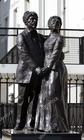 The statue of Dred and Harriet Scott, stands outside of The Old Courthouse in St. Louis on Wednesday, February 3, 2021. The Old Courthouse at Gateway Arch National Park is where Dred and Harriet Scott sued for freedom, beginning in 1846, and will undergo renovations beginning in late 2021, with construction lasting approximately two years.