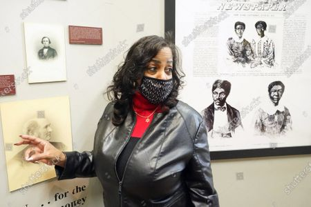 Lynne Jackson, the great, great grand daughter of Dred and Harriett Scott looks over a room dedicated to the Scotts at the Old Courthouse building before renovations, in St. Louis on Wednesday, February 3, 2021. The Old Courthouse at Gateway Arch National Park is where Dred and Harriet Scott sued for freedom, beginning in 1846, and will undergo renovations beginning in late 2021, with construction lasting approximately two years.